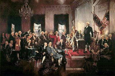 Scene at the Signing of the Constitution of the United States, by Howard Chandler Christy. (Wikipedia)