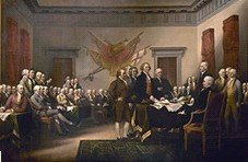 Painting of Second Continental Congress preparing the Declaration of Independence